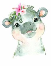 Handpainted Baby Hippo Nursery African Animals Flowers Waterslide Decal An852
