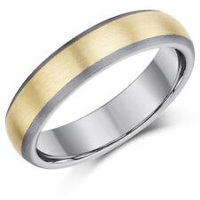 Anello di Titanio & 9ct ORO INTARSIATA DUE colore banda di nozze 5mm
