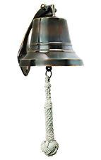 "Solid Brass Ship's Bell Bronze Finish 6"" Nautical Marine Wall Doorbell Decor"