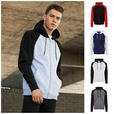 Full Zip Baseball Hoodie Hooded Zipped Jacket Top Sweatshirt Hoody Sweater