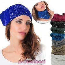 Cappello scaldacollo cappellino sciarpa invernale STRASS donna nuovo M-330 b992e49982c