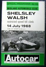 SHELSLEY WALSH PROGRAMME 1968 JULY 14th CAR HILL CLIMB