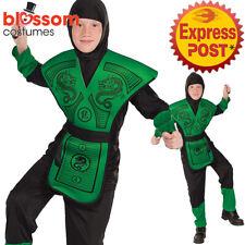 CK1228 Green Dragon Ninja Assassin Japanese Warrior Hero Book Week Boys Costume