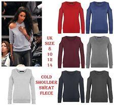 New Womens Sweatshirt Ladies Cold Open Shoulder Sweat Winter Top Size 8 10 12 14