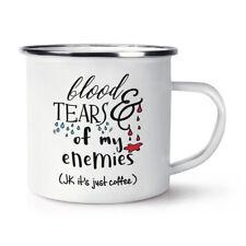 Sangre y lágrimas de mis enemigos Esmalte Retro De Café Taza Taza-Divertido Broma