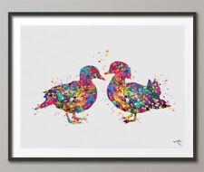 Mandarin Duck Watercolor Print Farm Animal Duck Couple Valentines Love Gift-960