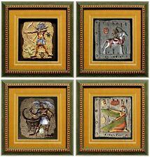 Wandrelief 4x (2x) Reliefbild WANDBILD mit Rahmen Dekoration Abstrakt Jagdstube