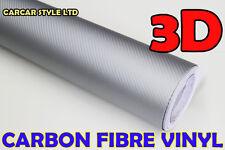 3d De Plata De Fibra De Carbono 1520mm X 3m (118in) Wrap película de vinilo adhesivo Burbujas Gratis