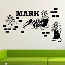 Personalised Name Super Mario Wall Sticker Decal Kids Boy Decor Art Mural DIY