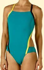 SPEEDO Vee 2 Color Block Endurance Lite Teal Green Swim Suit Womens 2 28  12 38