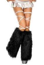Music legs black faux fur leg warmers
