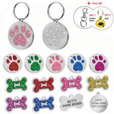 Tag Dog Collar Personalized Free Engraved Pet ID Tags Paw Print & Bone Shape