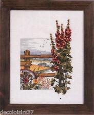 Permin  92-9323  Roses tremières  Broderie  Point de croix compté