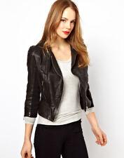 Women Leather Jacket Soft Solid Lambskin New Handmade Motorcycle Biker S M # 17