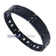 Accents Kingdom Men's Gun Metal Black Stainless Steel Magnetic Golf Bracelet L