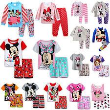 Toddler Kids Girls Cartoon Minnie Mickey Mouse Nightwear Sleepwear Pajamas Sets