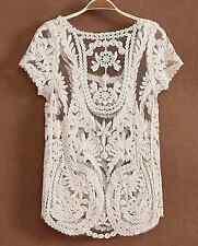 Crochet Festival Boho Lace Hippy Blouse Tee T Shirt Beach Top Cover Up Sheer