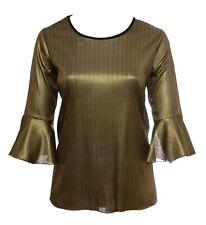 Da Donna 16-26 Oro Puro Gessato Svasato Polsino Aderente Top SIGNORE PARTITO * Are clic *
