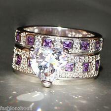 Fashion 925 Silver Filled Purple Amethyst Birthstone Engagement Wedding Ring Set