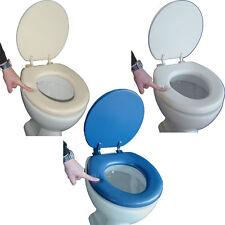 Soft-WC-Sitz Lugano blau weiss beige gepolstert Toilettendeckel Klodeckel Brille