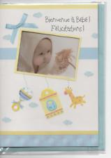 Carte double-Félicitations bébé-4 modèles différents-bébé en fenêtre.17x12 cm