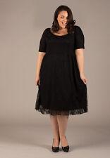 Plus Size Dress White Lace Short Sleeve USA MADE Scoop Neck 1X - 6X Black SWAK