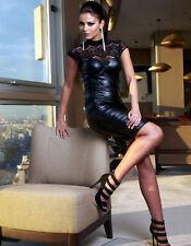 By Alina Damenkleid Abendkleid Lederlook Sexy Kleid Cocktailkleid Clubwear XS-M
