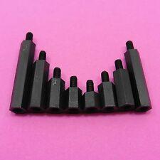 Black Male Pillars M3 Nylon 66 Plastic Studs Hex Standoff Spacers Hexagonal