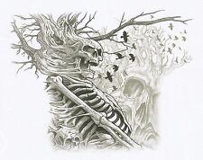 TEE SHIRT MANCHES LONGUES / SKULL / TETE MORT .S  M  L  XL  XXL  XXXL + ENFANT