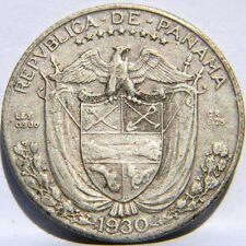 PANAMA: 1930 silver 1/4 Balboa, 6-yr type, 1st yr of issue; XF