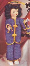 "Vintage Crochet PATTERN 8"" Doll Clothes Mandarin Coat Pants Hat Miss China"