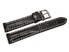 Bracelet de montre - rembourrage épais - grain croco - noir - 19, 21, 23 mm NEUF