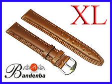 "16mm 18mm 20mm 22mm 24mm Banda Brown Calf Leather Watch Band Strap XL Long 8.5"""