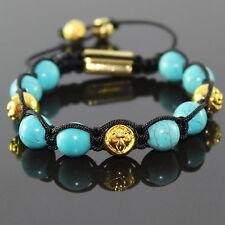 Damen Türkis /Grün Howlithe Shamballa mit Gold Metallperlen Armband ,für Frauen