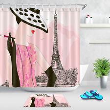 Fashion woman in Paris Bathroom Decor Shower Curtain Waterproof Fabric +12 Hooks