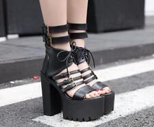 Women Gladiator Platform Lace Up Roman High Top Sandals Peep Toe High Heels Boot