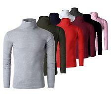 Nuovo da Uomo Dolcevita Camicie Stretch Maglione Girocollo USA S M L XL