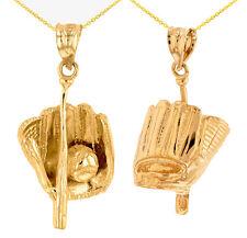 14k Yellow Gold 3D Sports Softball Baseball Bat,Glove and Ball Pendant Necklace