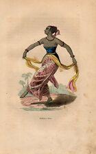 Stampa antica INDONESIA ballerina di Giava Java musica 1852 Old print Engraving