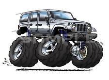 Jeep Wrangler Unlimited JKU Cartoon Tshirt  #0587GA JK off road automotive art