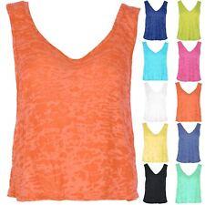 New Women's Burnout Muscle V Neck Front V Back Tank Vest Top Plus Size Uk 8-22