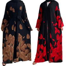 Muslim Women Abaya Long Maxi Dress Printed Open Cardigan Kaftan Robes Gowns Arab