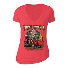 Three Wheels Motorcycle Tshirt Vehicle USA Blonde American Girl T-shirt Red