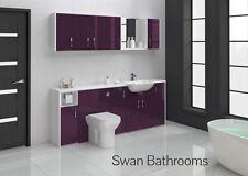 Melanzana Lucido Bagno Montato Furniture 2100 mm con unità muro