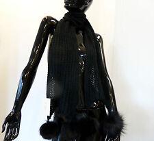 sciarpa lana PON pelliccia Volpe fox fur ball scarf schal stola fourrure renard