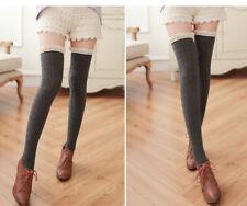Women Lace Leg Warmers Winter Knitted Long Socks Crochet Leggings Xmas Gifts