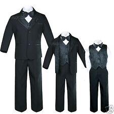 New Infant,Toddler & Boy Jacquard Formal Black Tuxedo Suit Wedding New born - 20
