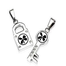 Stainless Steel 4 Leaf Lock and Key Pendant Set  P75