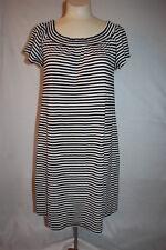 Womens BLACK & WHITE STRIPE SHIFT DRESS Pockets OFF SHOULDER Casual S M L XL XXL