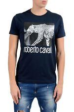 Roberto Cavalli Men's Blue Graphic Leopard Crewneck T-Shirt Size S M L XL